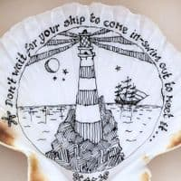 Don't Wait for Your Ship to Come in | Pen and Ink Drawing| Shell Art | Kim Lynch
